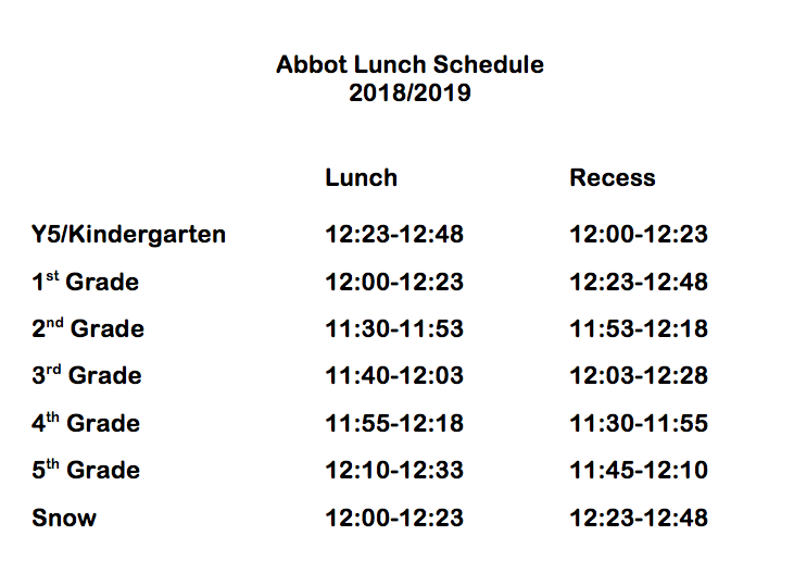 Lunch Schedule