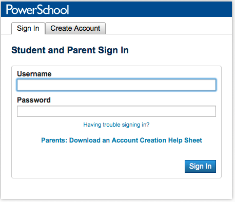 PowerSchool Login Screen