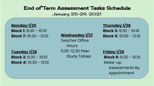 end of term assessments schedule, january 25 to 29, 2021