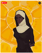 romeo's art of black nun wearing habit with yellow background
