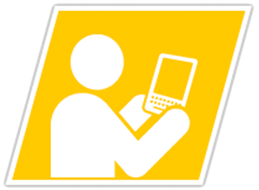 person with tablet icon