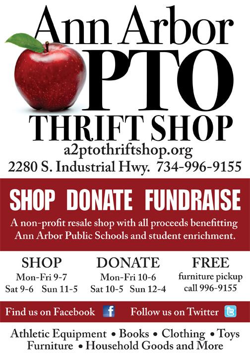 Support the Logan School by shopping at the Ann Arbor PTO Thrift Shop