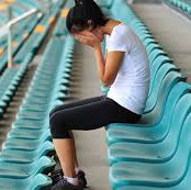 teen girl in bleachers